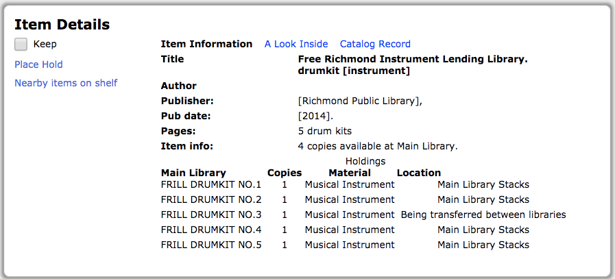 card cataloge listing for a drum kit
